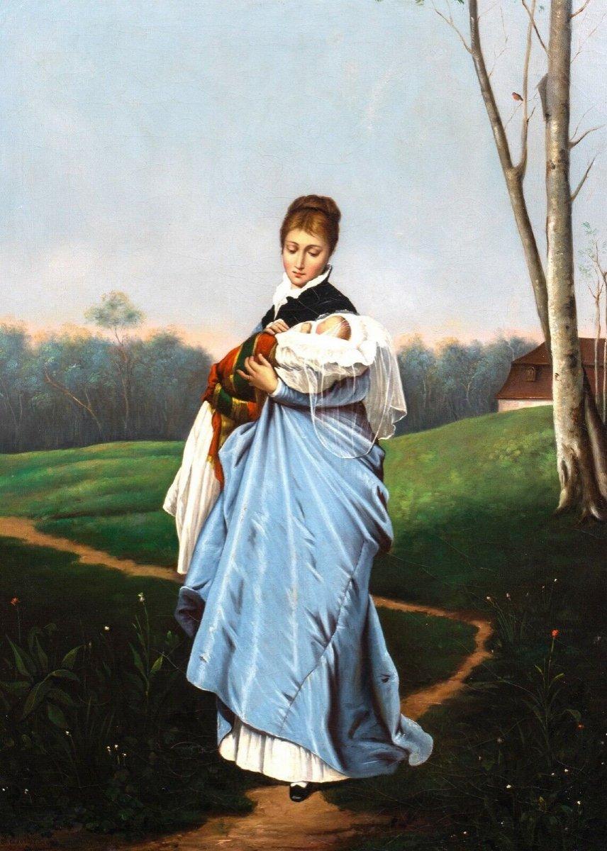 Portrait Of A Mother And Her Baby, Nineteenth Century School Of Friedrich August Von Kaulbach 1850-1920