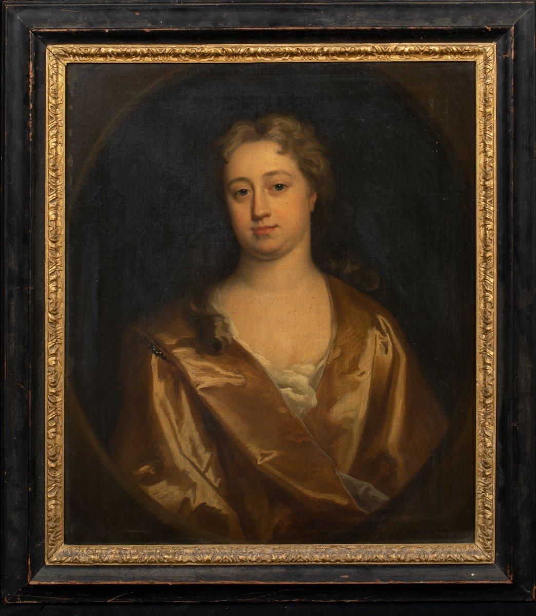 Portrait d'Elizabeth Banks, 1ère Comtesse d'Aylesford, Vers 1720.  Cercle  Jonathan Richardson-photo-2