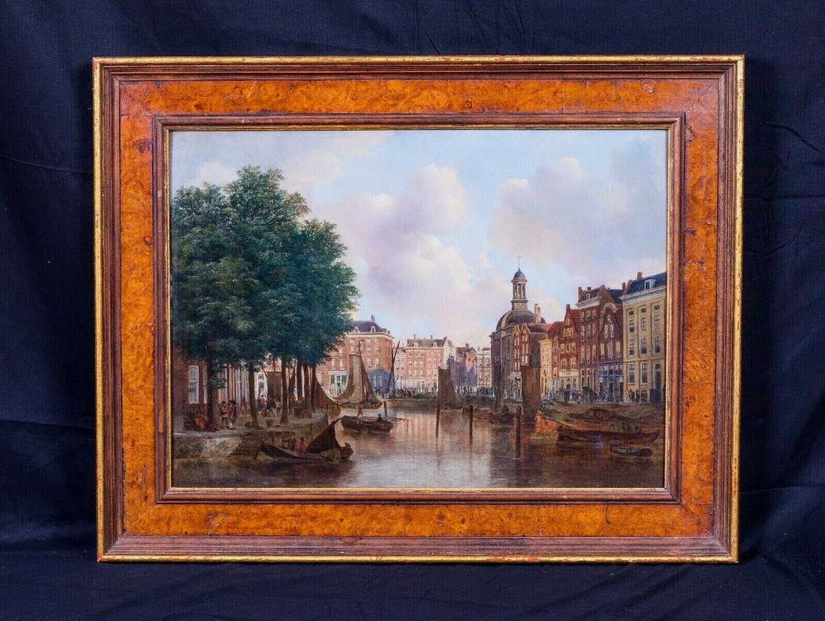 View Of The Port Of Amsterdam Eighteenth Century Circle Of Isaac Ouwater (1748-1793)-photo-2