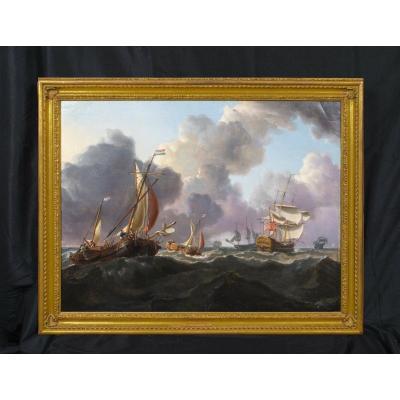 Navires De Guerre Anglais Et Bateaux Néerlandais, 19e Siècle Charles Martin Powell (1775-1824)