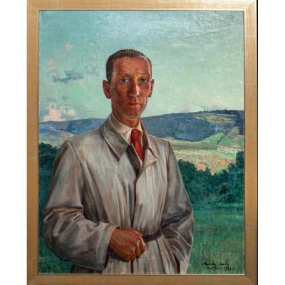Portrait d'Un Gentilhomme, Daté 1943 - Par Marion Mroz (1892-1976)