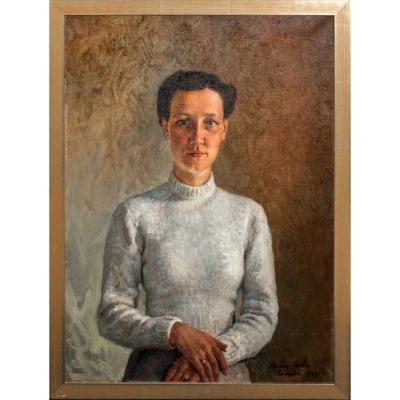Portrait d'Une Dame En Blanc, Daté 1943  Par Marion Mroz (1892-1976)