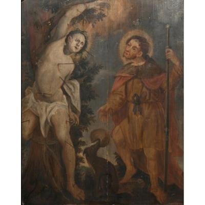 Saint Sébastien Et Saint Roch, XVIe Siècle  Ecole Flamande/allemande - Huile Sur Panneau