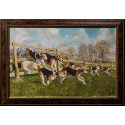 Hounds In Pursuit, 20th Century  By Charles Clifford Turner