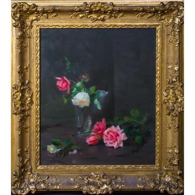 Nature Morte De Roses Roses Et Blanches, 19ème Siècle  Par Louise Ellen Perman (1854-1921)