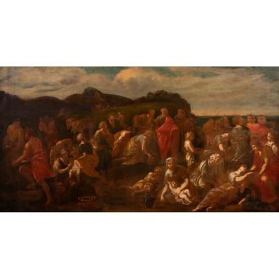 Jésus Nourrissant Les 5000, XVIIe Siècle  Ecole De Nicolas Poussin (1595-1665)