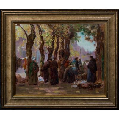 Scène De Rue Du Marché, Bruges, XIXe Siècle  Par James Christie Prowett (1865-1946)
