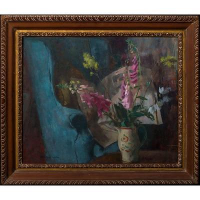 Intérieur Nature Morte Aux Fleurs  Par Bernard Fleetwood-walker (1893-1965)