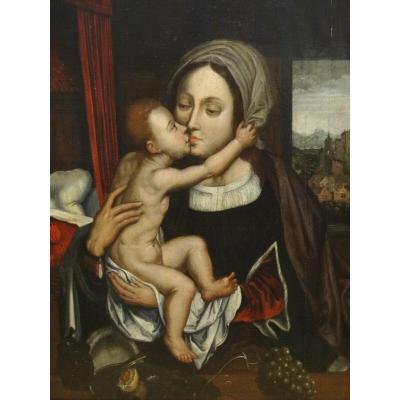 Vierge à l'Enfant, XVIe Siècle  Ecole De Quentin Metsys (1466-1530)