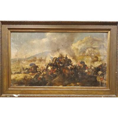 Scène De Bataille Des Guerres d'Italie, XVIIe Siècle  Attribué à Andrea Di Lione (1610-1685)
