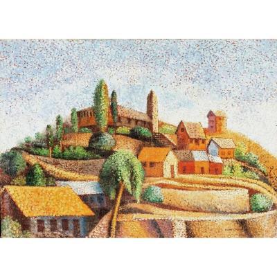 Paysage De Village, XIXe Siècle  Par Victor Charreton (1864-1936)