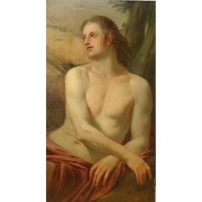 Étude d'Un Homme, Peut-être Comme Saint Sébastien, XVIe Siècle  Ancienne Ecole Italienne