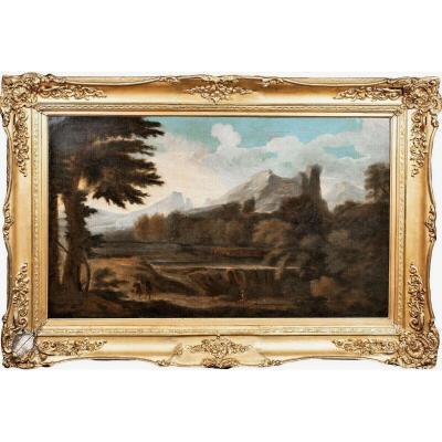 Paysage Italien Classique, XVIIe Siècle  Ecole De Gaspard Dughet (1615-1675)