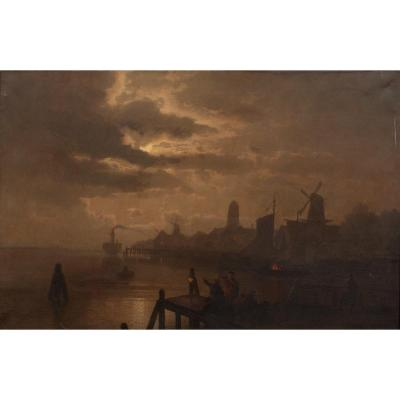 Paysage Au Clair De Lune De Dordrecht, XIXe Siècle  Félix Kreutzer (1835-1876)