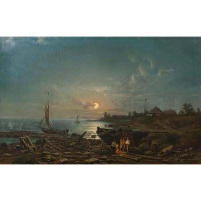 Smugglers In A Moonlit Coastal Landscape, 19th Century By Johann Anton Castell
