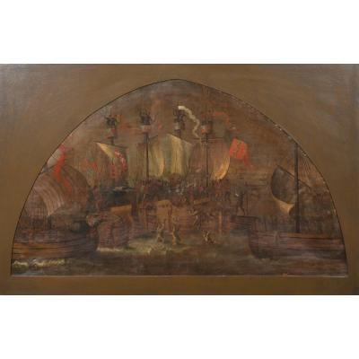 La Bataille De Sluys (1340), Huile Sur Toile