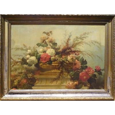 Still Life Of Flowers, XIXth Century Huge French School Study Circa 1880