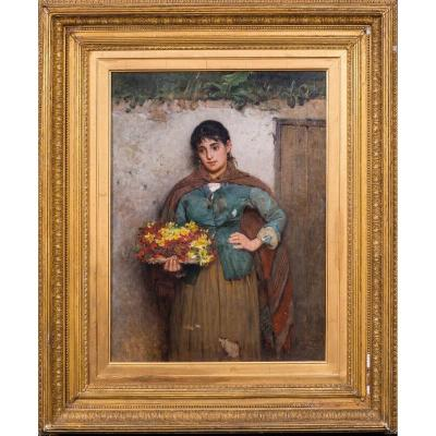 Portrait Of An Italian Flower Girl, Dated 1882 By Carlton Alfred Smith [1853-1946]