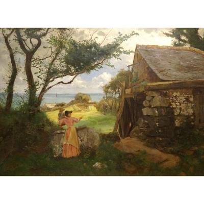 Mère & Enfant Par Un Moulin, 19ème Siècle  Cercle De Stanhope Alexander Forbes (1857-1947)
