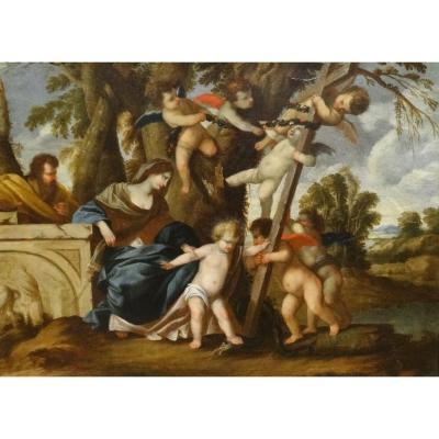 La Sainte Famille Et Putto, XVIIe Siècle  Par Giovanni Maria Galli-bibiena (1625-1665)