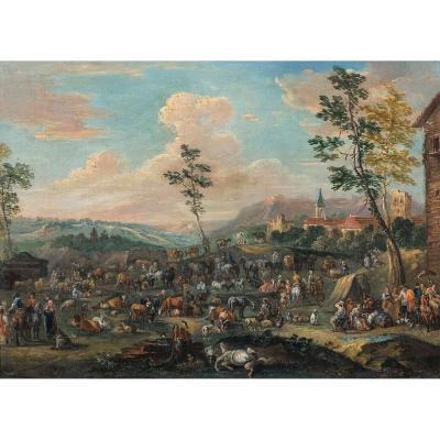 Le Marché Aux Bestiaux, XVIIe Siècle  Ecole De Karel Breydel (1678-1733)
