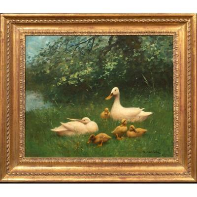 Une Famille De Canards, 19ème Siècle  Par Constant Artz (1870-1951)