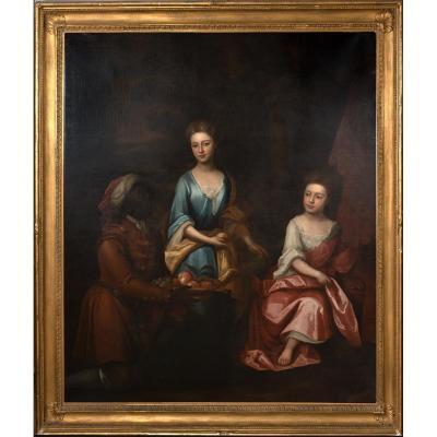Portrait De Deux Filles Et d'Une Servante, XVIIe Siècle  Réputé être Sarah Churchill