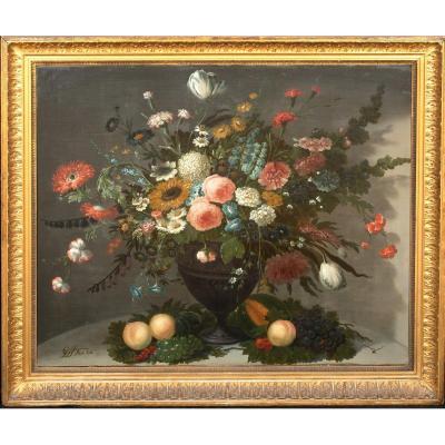 Nature Morte De Fleurs Dans Un Vase En Verre, Roses Chrysanthèmes, Roses   Jan Van Os