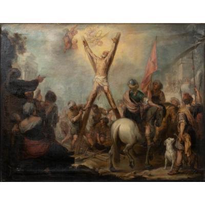Le Martyre De Saint André, XVIIIe Siècle  Suiveur De Bartolomé Esteban Murillo (1617-1682)