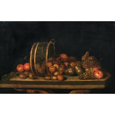 Nature Morte De Poires, Pommes Et Raisins Dans Un Panier Renversé, XVIIe Siècle