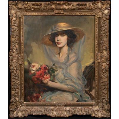 Portrait De Mme Catherine Darley (nee Barber) De Ranby Hall, Vers 1930  Boleslaw Von Szankowski