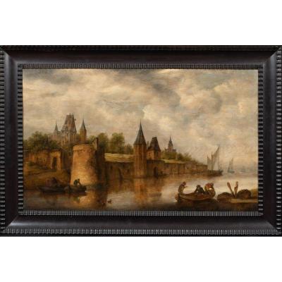 Paysage Fluvial Avec Personnages En Barques, XVIIe Siècle  Jan Josefsz. Van Goyen (1596-1656)