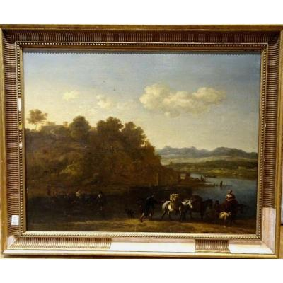 Characters & Cattle In A River Landscape, 17th Century School Of Johann Melchior Roos