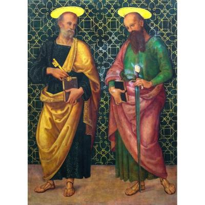 Saint Peter And Saint Paul, Oil On Panel After Giannicola Di Paolo (1460-1544)