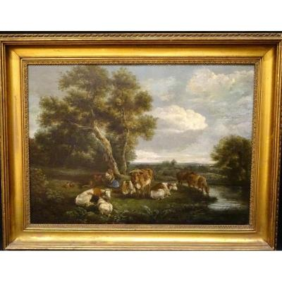 Cattle, Bouvier And Shepherdess Resting Near A Stream, 18th Century