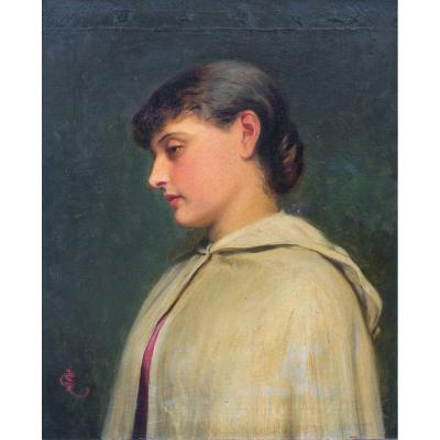 Portrait Of A Young Girl In A White Coat, Nineteenth Century By Charles Sillem Lidderdale