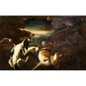 Deer Hunting Dogs, 17th Century School Of Frans Snyders (1579-1657)