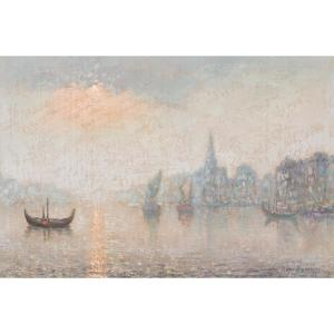 View Of A City At Night From The River, Circa 1900 European School
