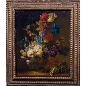 Still Life Of Flowers, Grapes And A Melon, 17th Century Circle Of Rachel Ruysch (1664-1750)