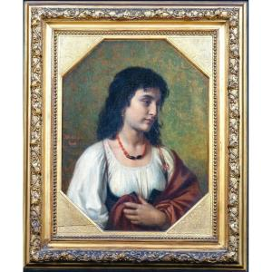 """Portrait Of A Neapolitan Girl, """"paquetta"""", 19th Century By Gustav Muller (1811-1880)"""
