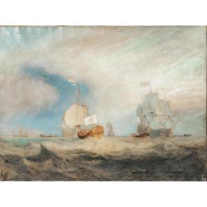 Admiral Von Trump's Barge Off Texel, 1645, 19th Century After Jmw Turner