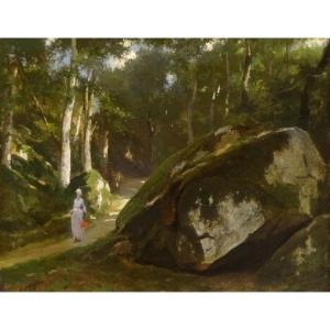 An Elegant Lady In The Forest, 19th Century By Eugène Pierre François Giraud (1806-1881)