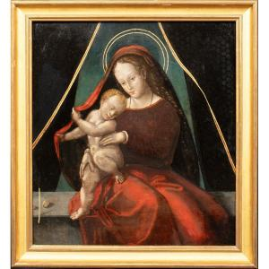 Virgin And Child, 16th 17th Century European School. - Old Oil On Panel 16th 17th