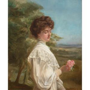 Portrait d'Une Dame édouardienne, Début Du 20e Siècle  École Anglaise