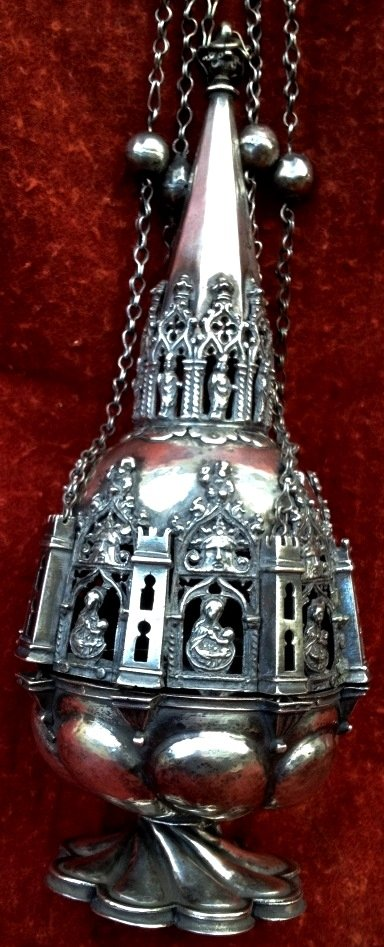 Museum Gothic  Solid Silver Censer  XV - XVIth Cty Chiseled Openwork, Bible Scenes & Windows