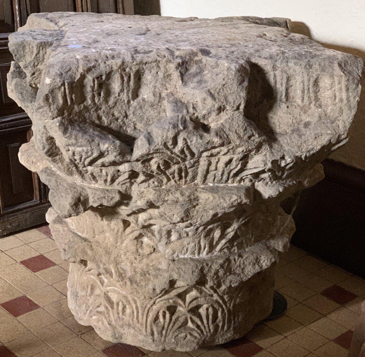 Important chapiteau Corinthien à 3 registres en pierre calcaire, circa IVe-VIe S ap JC-photo-3