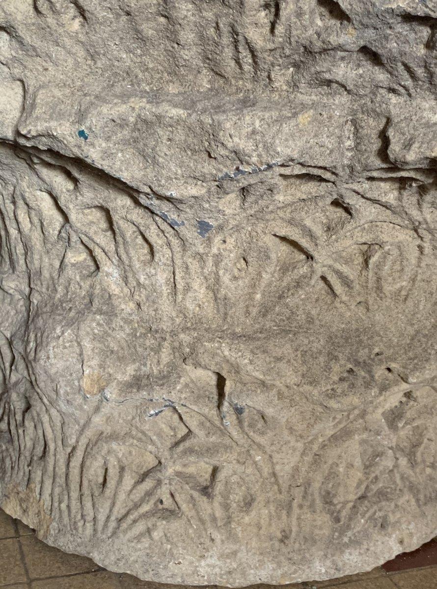 Important chapiteau Corinthien à 3 registres en pierre calcaire, circa IVe-VIe S ap JC-photo-1