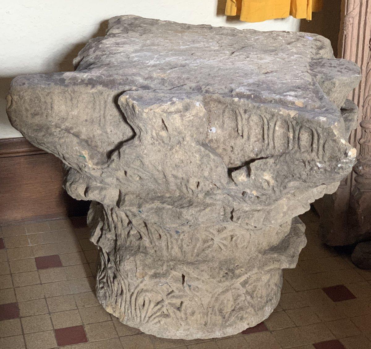 Important chapiteau Corinthien à 3 registres en pierre calcaire, circa IVe-VIe S ap JC-photo-2