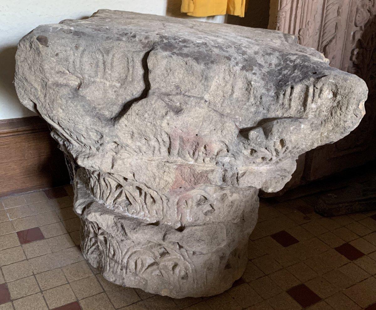 Important chapiteau Corinthien à 3 registres en pierre calcaire, circa IVe-VIe S ap JC-photo-4