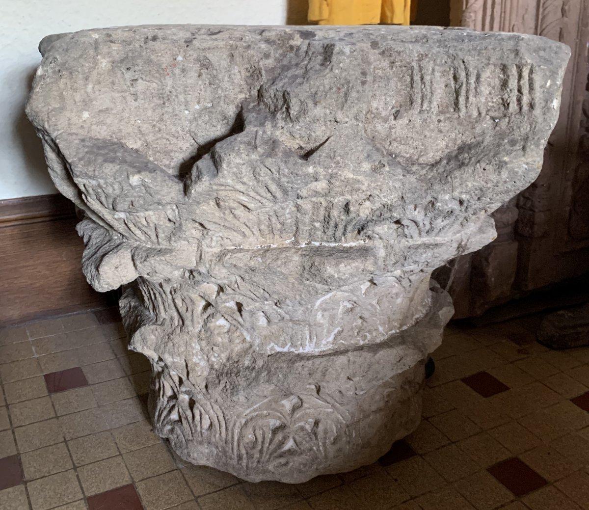 Important chapiteau Corinthien à 3 registres en pierre calcaire, circa IVe-VIe S ap JC-photo-6